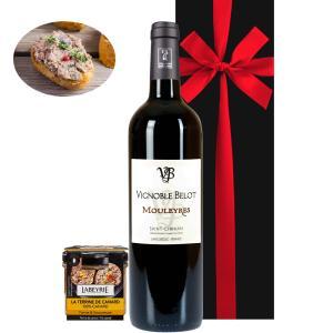 赤ワイン好きの方へのグルメギフトにおすすめの赤ワインとパテのセット。 テリーヌは薄く切ったバゲットや...