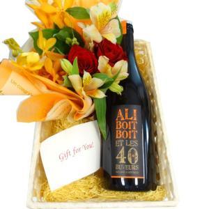 ホームパーティーやお祝いの贈り物に喜ばれる、ブルゴーニュのスパークリングワインとお花の華やかなワイン...