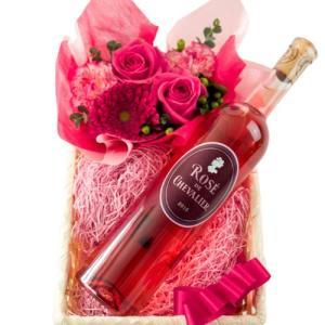 明るくて可愛らしいピンク色のお花に、フランス、ボルドー地方の高級ロゼワインを合わせました。  飲みや...