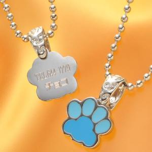 名入れ プレゼント 犬用 迷子札 ギフト 小型犬 中型犬 ペット 名札 名前入りペット用 mini肉きゅうプレートネックレス |original