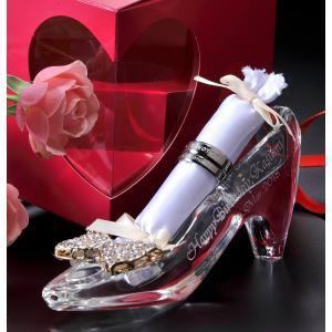 名入れ 名前入り 喜ばれる ギフト プレゼント 女性 プロポーズ 結婚 結婚記念 記念日 誕生日 クリスタル製 ガラスの靴 選べる リボンチャーム リング挿し付|original