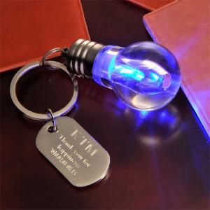 キーホルダー メンズ ギフト 名入れ プレゼント LEDライト 電球キーリング-オリジナルプレートセ...