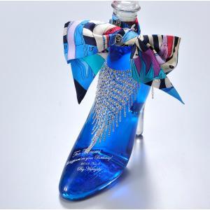 名入れ 誕生日 ギフト  リキュール ハーバリウム 瓶  シンデレラシュー ガラスの靴 セレブ仕様 ラインストーンボトルネックレス ツイリーセット|original
