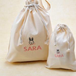子供 キッズ 名前 名入れ 刺繍 コットン巾着袋L M 2枚セット 子供 旅行 体操袋 着替え袋 |original