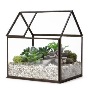 ハウス テラリウム オープンルーフ おしゃれ ガラスケース プランター 家型|oriji
