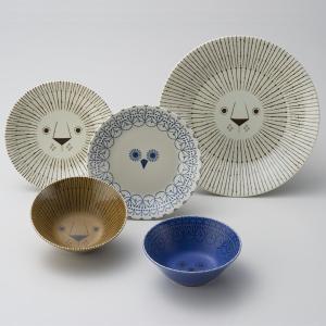 ミッケ シェアランチセット ライオンとフクロウの食器セット お皿 プレート ボウル 小鉢 日本製 和食器|oriji