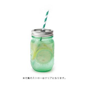 新色 メイソンジャーのビンのグラス レッドネック シッパー グリーン ストロー付き 単品|oriji|02
