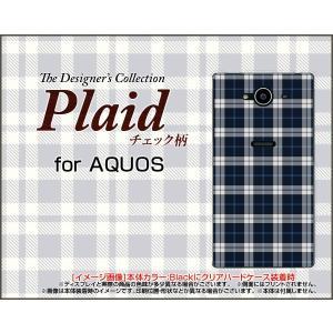 AQUOS Xx2 502SH ハードケース/TPUソフトケース 液晶保護フィルム付 Plaid(チェック柄) type003 ちぇっく 格子 紺 シンプル かっこいい|orisma