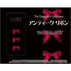 スマホケース GALAXY Note 8 SC-01K SCV37 ハードケース/TPUソフトケース アンティークリボン(赤×黒) クラシック りぼん 赤 黒|orisma