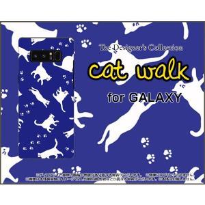 スマホケース GALAXY Note 8 SC-01K SCV37 ハードケース/TPUソフトケース キャットウォーク(ブルー) ねこ 猫柄 キャット ブルー|orisma