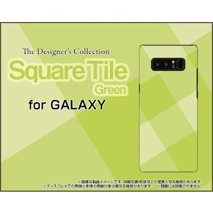 GALAXY Note 8 SC-01K SCV37 ハードケース/TPUソフトケース 液晶保護フィルム付 SquareTile(Green) タイル 緑 グリーン チェック 四角|orisma