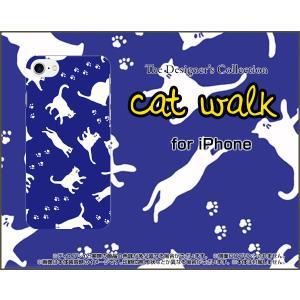 スマホケース iPhone 8 Plus ハードケース/TPUソフトケース キャットウォーク(ブルー) ねこ 猫柄 キャット ブルー|orisma