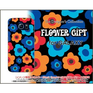 スマホケース GALAXY S6 SC-05G ハードケース/TPUソフトケース フラワーギフト(ブルー×オレンジ) カラフル ポップ 花 青(ブルー) オレンジ|orisma