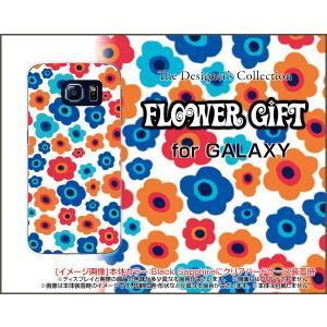 スマホケース GALAXY S6 SC-05G ハードケース/TPUソフトケース フラワーギフト(青×赤×オレンジ) カラフル ポップ 花 青 赤 オレンジ|orisma