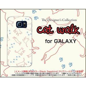スマホケース GALAXY S6 SC-05G ハードケース/TPUソフトケース キャットウォーク(ベージュ) ねこ 猫柄 キャット レッド 白|orisma