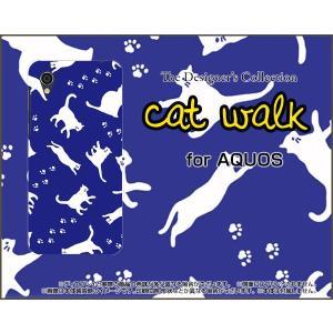 スマホケース AQUOS sense2 かんたん SHV43K au ハードケース/TPUソフトケース キャットウォーク(ブルー) ねこ 猫柄 キャット ブルー|orisma