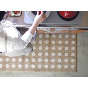 キッチンマット 綿 150 北欧 ロング ワイド 水玉 ドット 65×150 ナチュラル モダン Polka dot 洗える シンプル|orizin