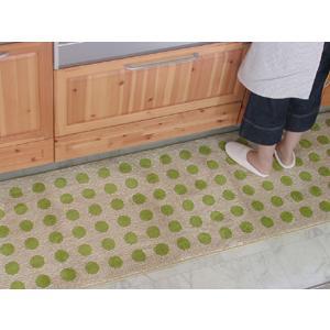 キッチンマット 綿 160 北欧 ロング ワイド 水玉 ドット 65×160 ナチュラル モダン Polka dot 洗える シンプル|orizin