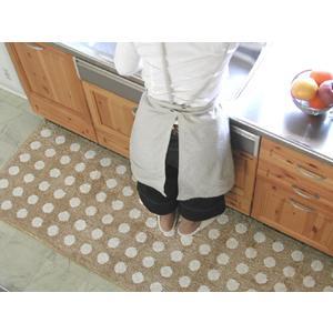 キッチンマット 綿 230 北欧 ロング ワイド 水玉 ドット 65×230 ナチュラル モダン Polka dot 洗える シンプル|orizin