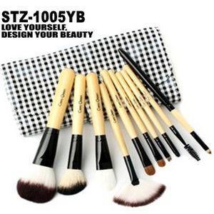 10本メイクブラシセット、化粧筆セット、化粧ブラシセット、ブラシケース付き STZ-1005YB