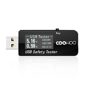 COOWOO USB電流電圧テスター チェッカー 3-30V/0-5.1A 急速充電QC2.0/QC...