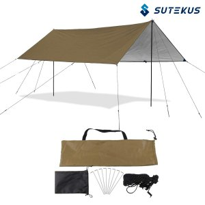 Sutekus 防水 紫外線遮断 タープ 2?6人用 サンシェルター シェード 広い 3X3.8メー...