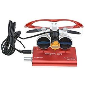 TopSeller歯科 双眼ルーペ拡大鏡(3.5倍)+クリップ式LEDヘッドライト 3W 光学拡大鏡...