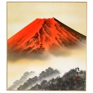 肉筆色紙 縁起物 年中用 赤富士 梅原塘士 |orudo