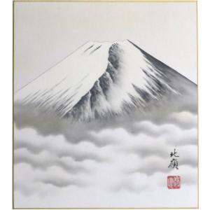 肉筆色紙 縁起物 年中用 白富士 長谷川北嶺|orudo