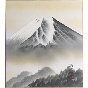 肉筆色紙 縁起物 年中用 白富士 梅原塘士 |orudo