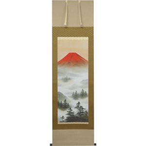 掛軸 赤富士山水 上野行安作(掛け軸 尺五立)|orudo