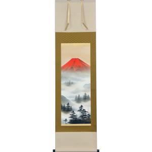 掛軸 赤富士山水 上野行安作(掛け軸 尺三立)|orudo