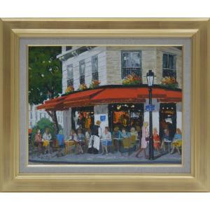 絵画 油絵 風景画F6 パリのカフェ 斉藤 要画 orudo