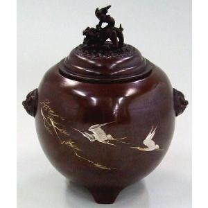 銅製夏目型松鶴彫金香炉|orudo