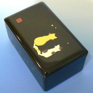 曲目選択 会津塗り30弁小物入れ 高級オルゴール(小 黒 ネコ 内蓋ガラス) サービスプレート付き|orugoruya