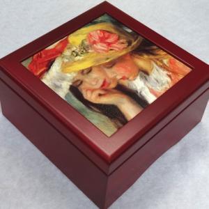 曲目選択 正方形(ルノアール 二人の少女) アートボックス 宝石箱オルゴール|orugoruya