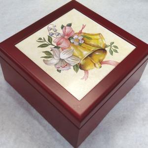 曲目選択 正方形(ウェディングベル 花束)アートボックス 宝石箱オルゴール|orugoruya