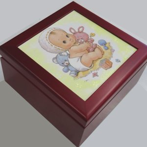 曲目選択 正方形(赤ちゃん/帽子)アートボックス宝石箱オルゴール|orugoruya