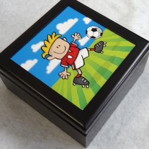 曲目選択 正方形(サッカー) アートボックス 小物入れ オルゴール|orugoruya