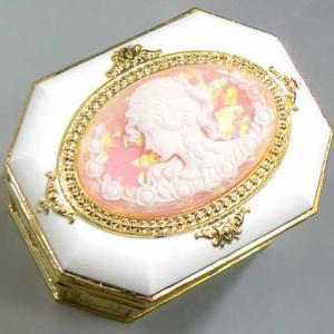 カメオ付き八角形宝石箱オルゴール ピンク:ラメ入り アンチモニー|orugoruya