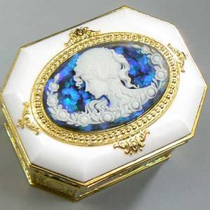 カメオ付き八角形宝石箱オルゴール  ブルー:ラメ入り アンチモニー|orugoruya