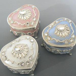 ハート型パステルカラー・ラインストーン(キラキラ)アンチモニー宝石箱 三色 アンチモニー オルゴール|orugoruya