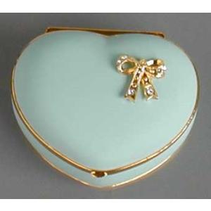 ハート型リボン付き宝石箱 ブルー エーデルワイス アンチモニー バレンタイン ホワイトデー|orugoruya