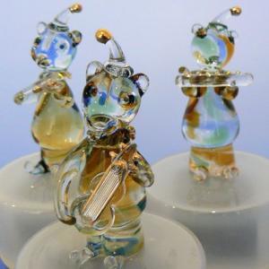 大塚ガラス(クマの楽隊3種) 動物楽器回転オルゴール くま|orugoruya