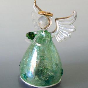 ガラスの天使回転オルゴール(緑 花と星の飾り モーツワルトのメヌエット) |orugoruya
