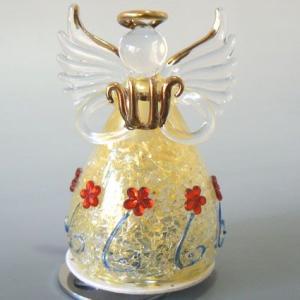 ガラスの天使回転オルゴール(黄色  ハープ 星に願いを) |orugoruya