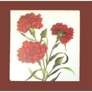 曲目選択 正方形(母の日の赤いカーネーション3本) アートボックス 宝石箱オルゴール|orugoruya
