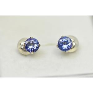 天然タンザナイト K18WG ピアス ゾイサイト|osaka-jewelry