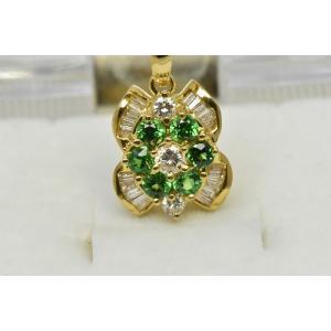 綺麗なグリーン ガーネット 0.43ct ダイヤモンドネックレス|osaka-jewelry