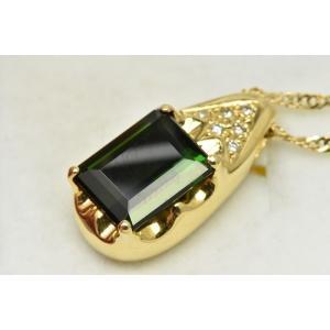 K18 ゴールド グリーン トルマリン 3.73ct ペンダントネックレス|osaka-jewelry